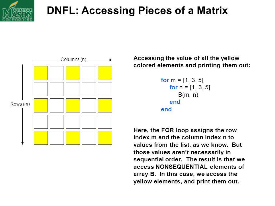 DNFL: Accessing Pieces of a Matrix