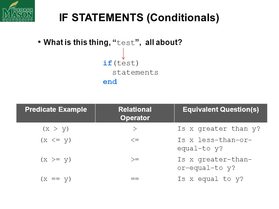 IF STATEMENTS (Conditionals) Equivalent Question(s)