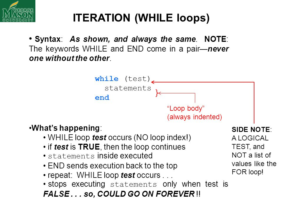 ITERATION (WHILE loops)