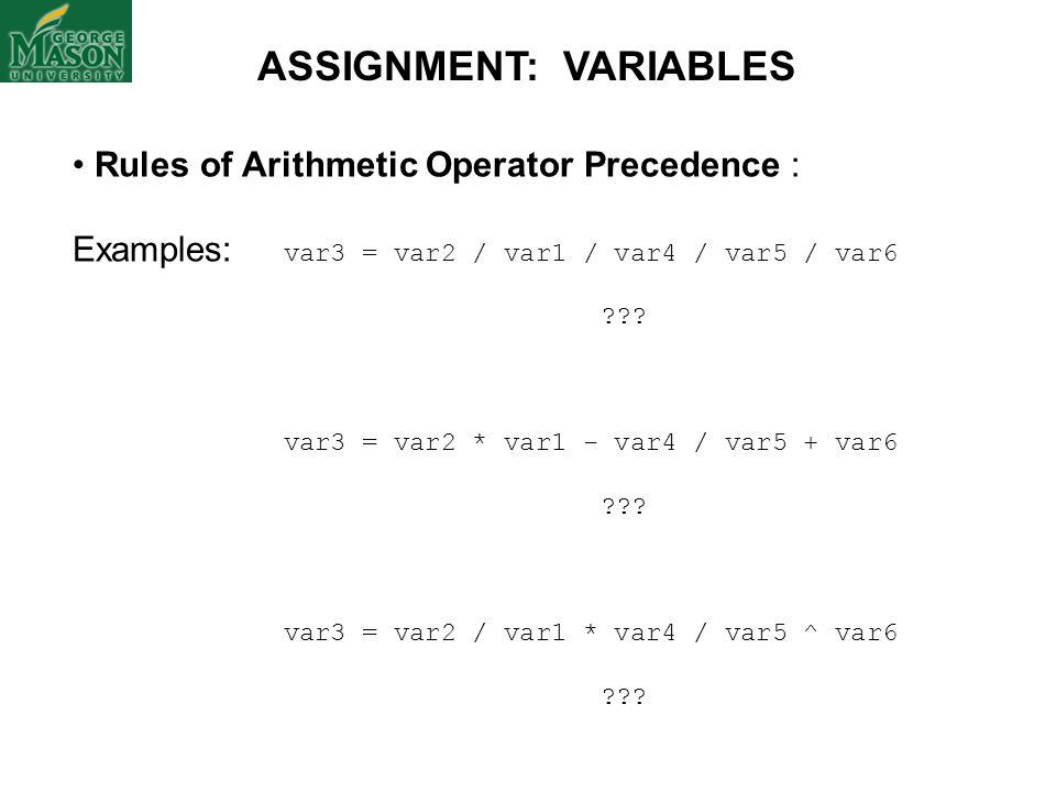 ASSIGNMENT: VARIABLES