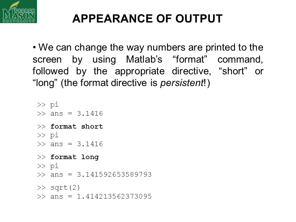 APPEARANCE OF OUTPUT