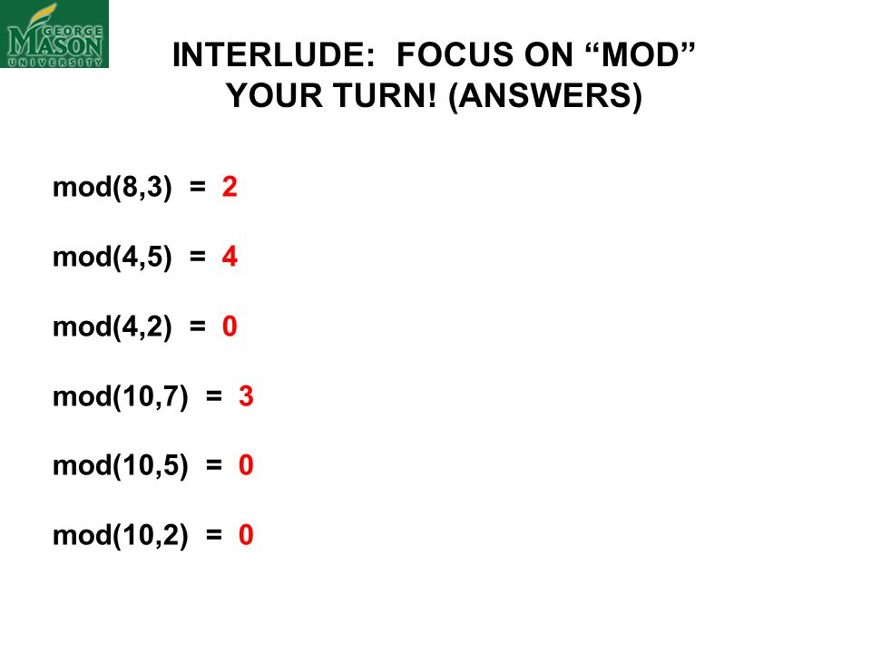 INTERLUDE: FOCUS ON MOD
