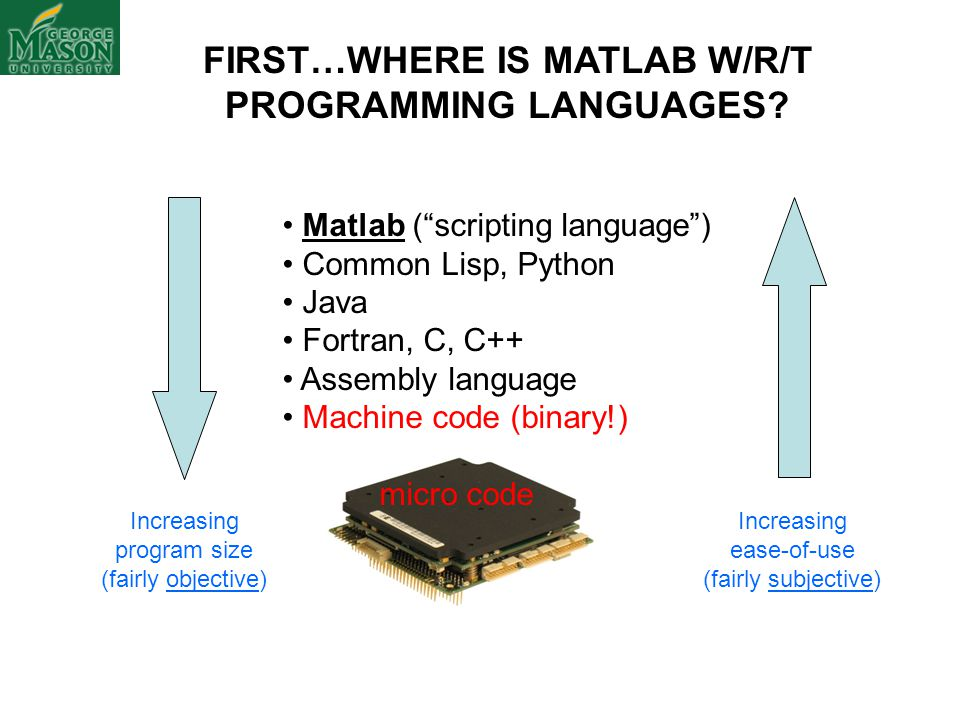 FIRST…WHERE IS MATLAB W/R/T PROGRAMMING LANGUAGES