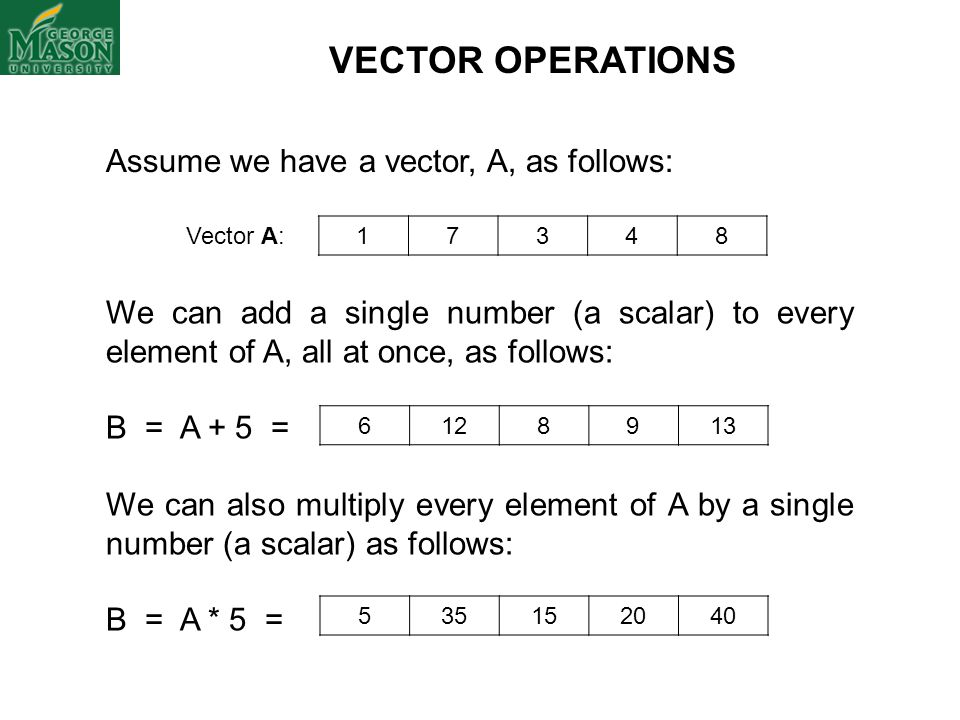 VECTOR OPERATIONS Assume we have a vector, A, as follows: