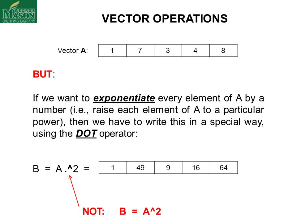 VECTOR OPERATIONS BUT: