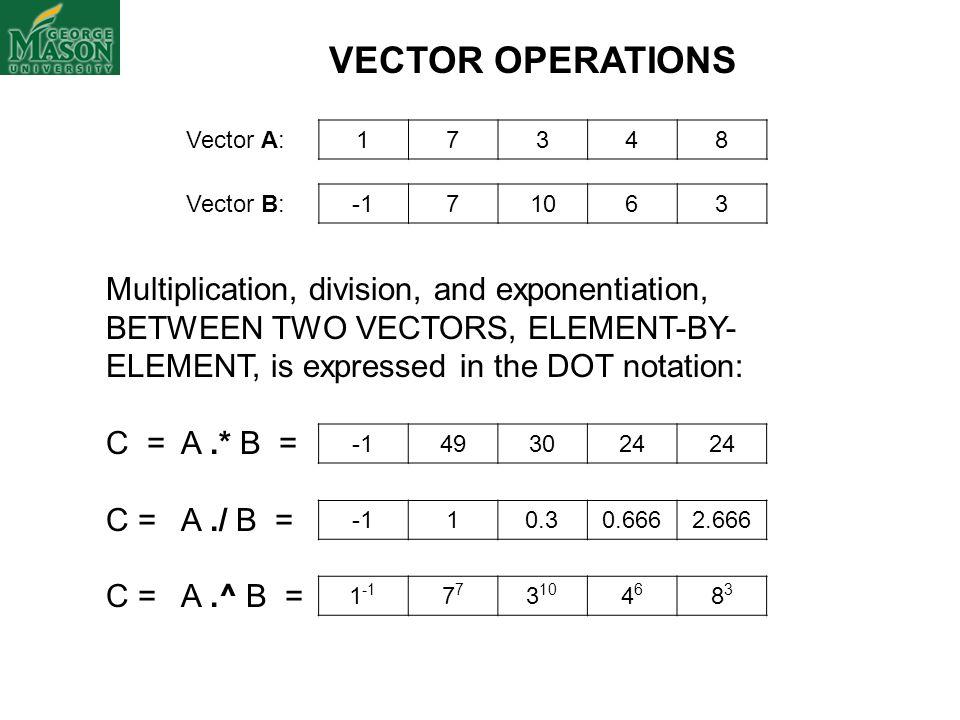 VECTOR OPERATIONS Vector A: 1. 7. 3. 4. 8. Vector B: -1. 7. 10. 6. 3.