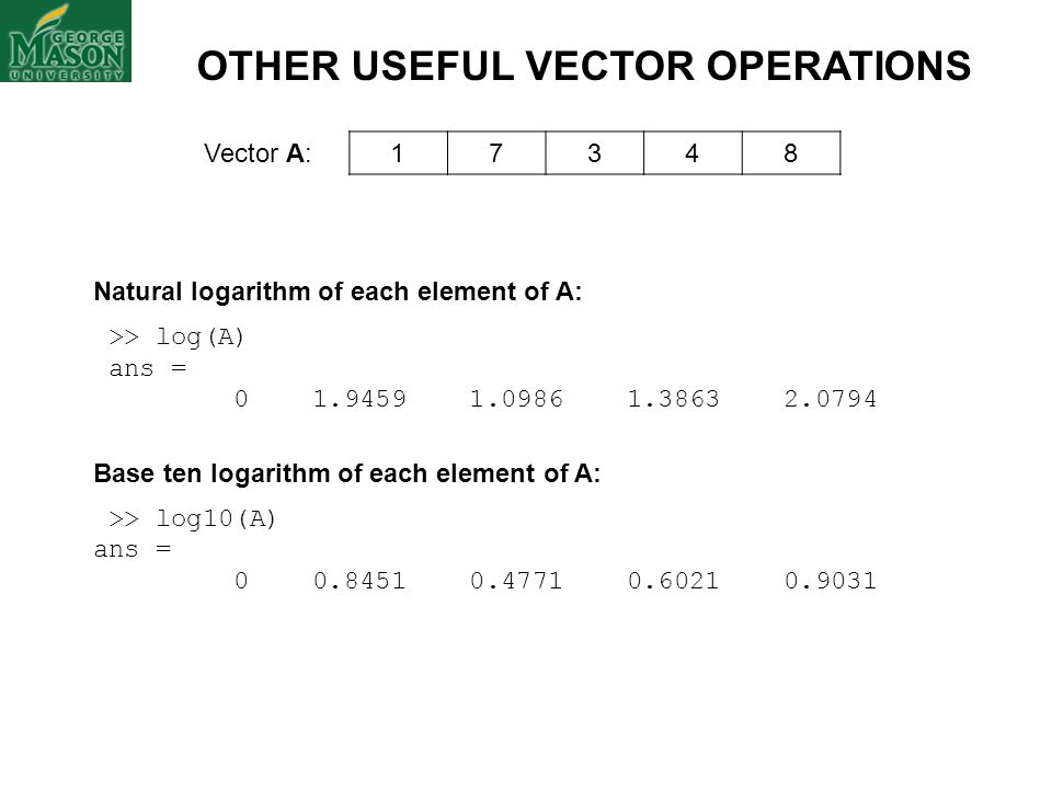 OTHER USEFUL VECTOR OPERATIONS