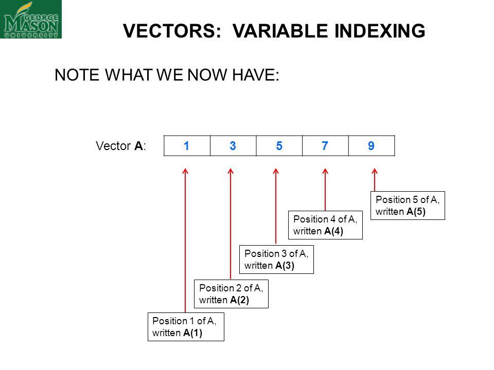 VECTORS: VARIABLE INDEXING