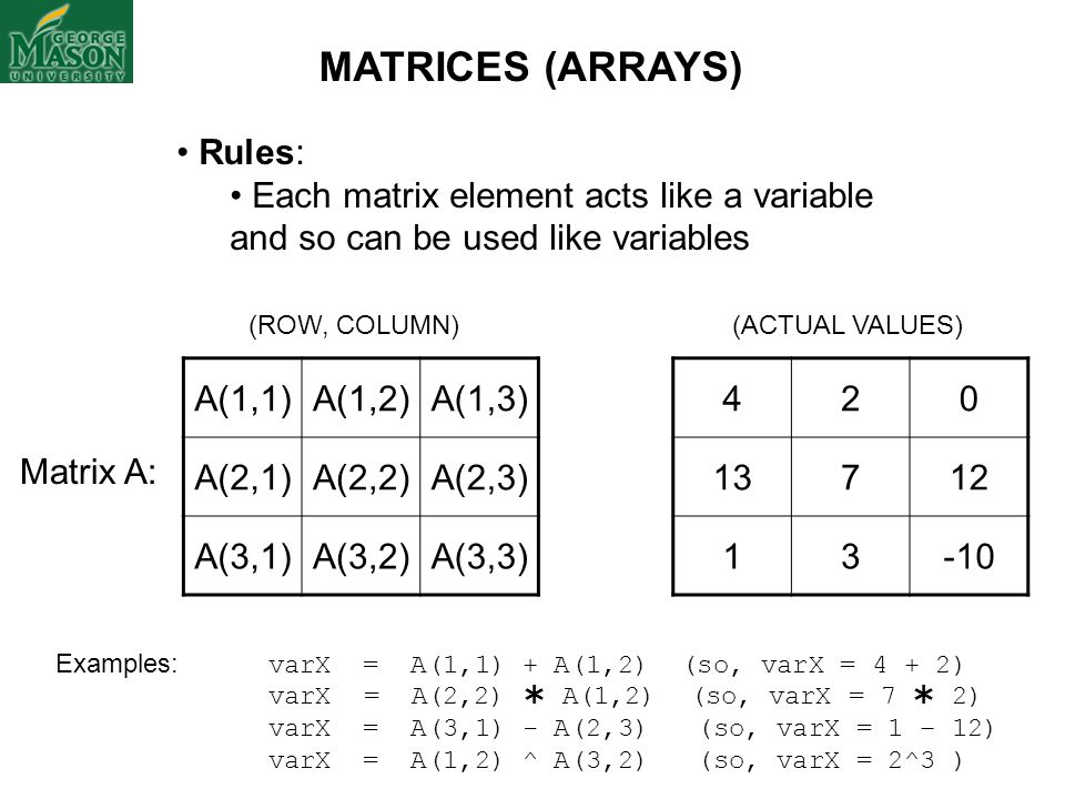 MATRICES (ARRAYS) Rules: