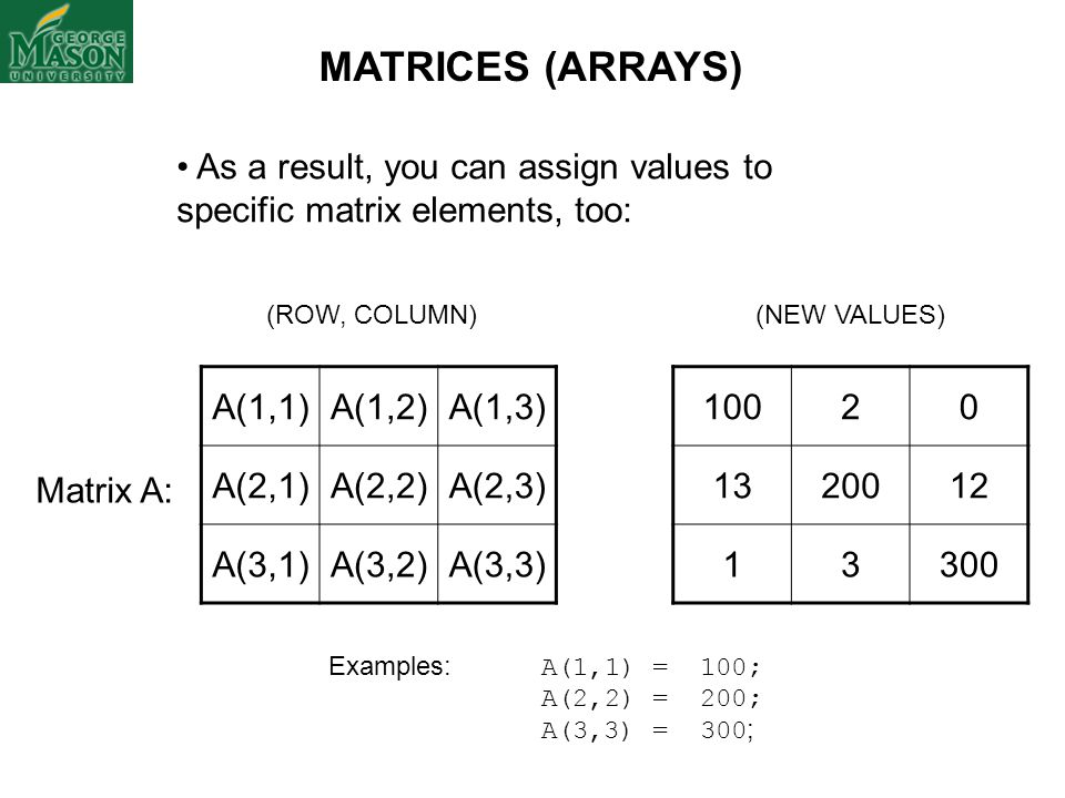 MATRICES (ARRAYS) As a result, you can assign values to specific matrix elements, too: (ROW, COLUMN)