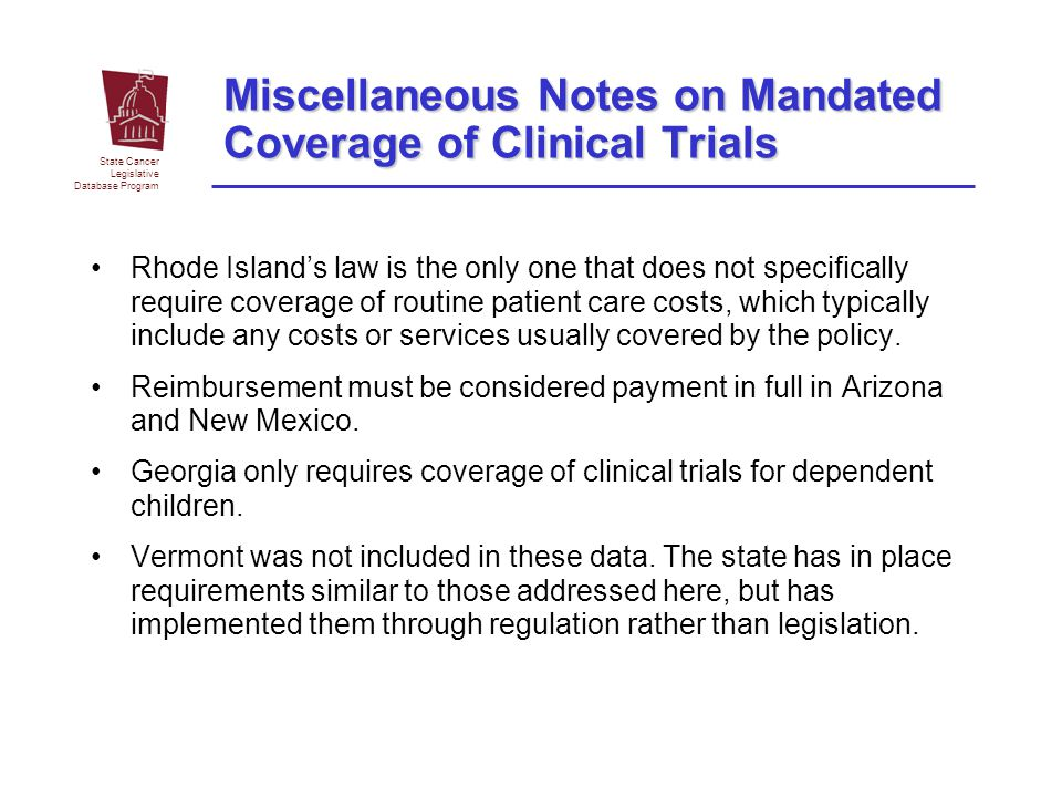 Miscellaneous Notes on Mandated Coverage of Clinical Trials