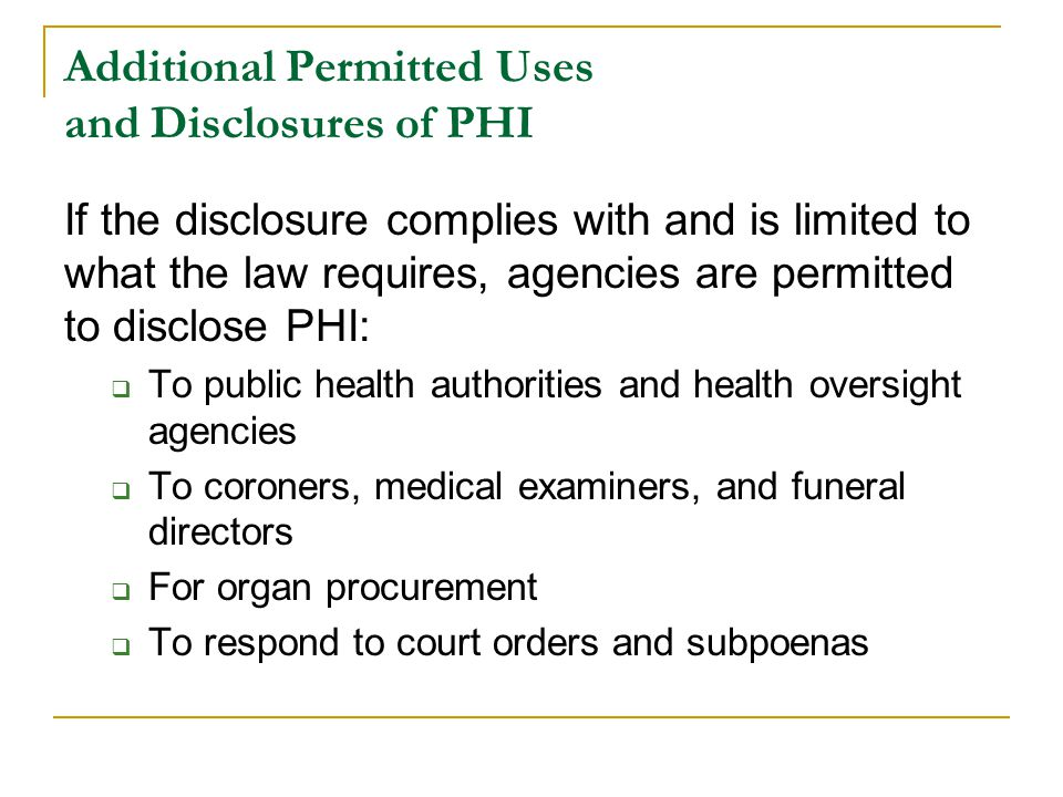 Additional Permitted Uses and Disclosures of PHI