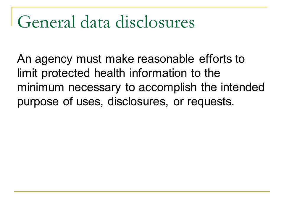 General data disclosures