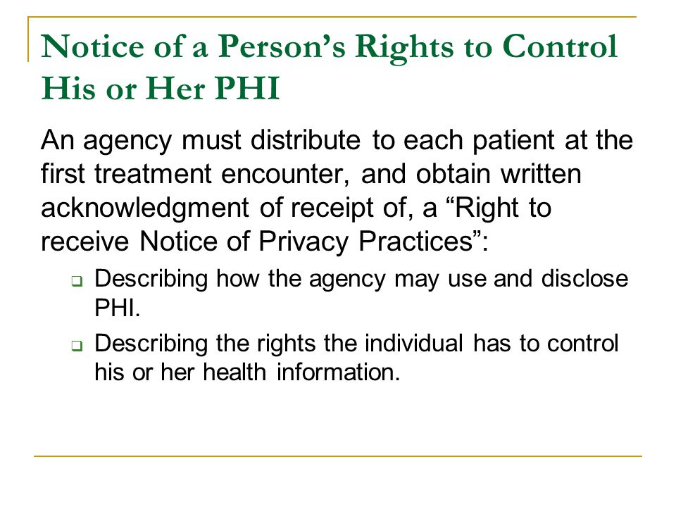 Notice of a Person's Rights to Control His or Her PHI
