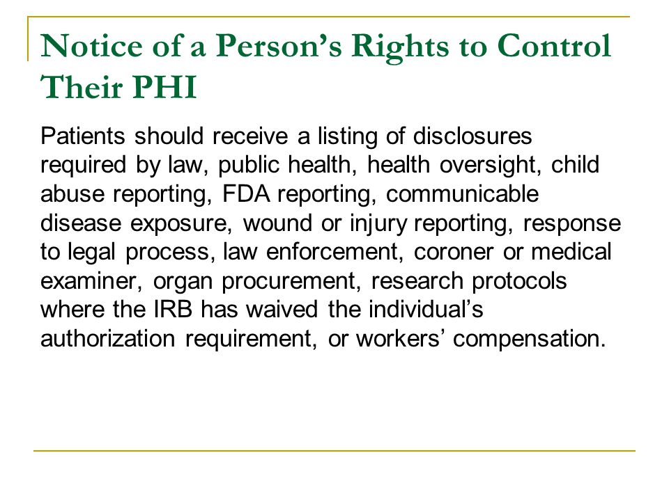 Notice of a Person's Rights to Control Their PHI