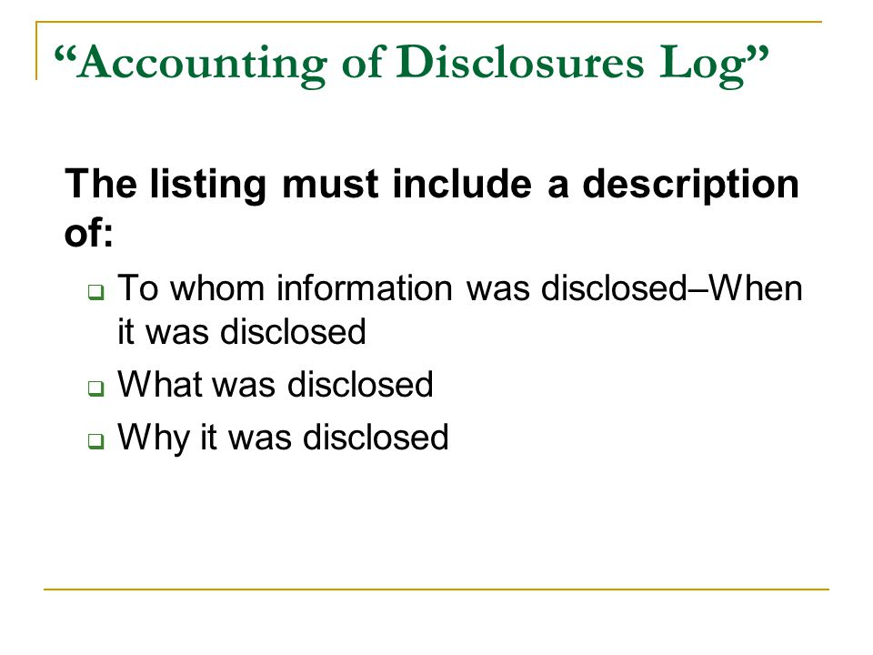 Accounting of Disclosures Log