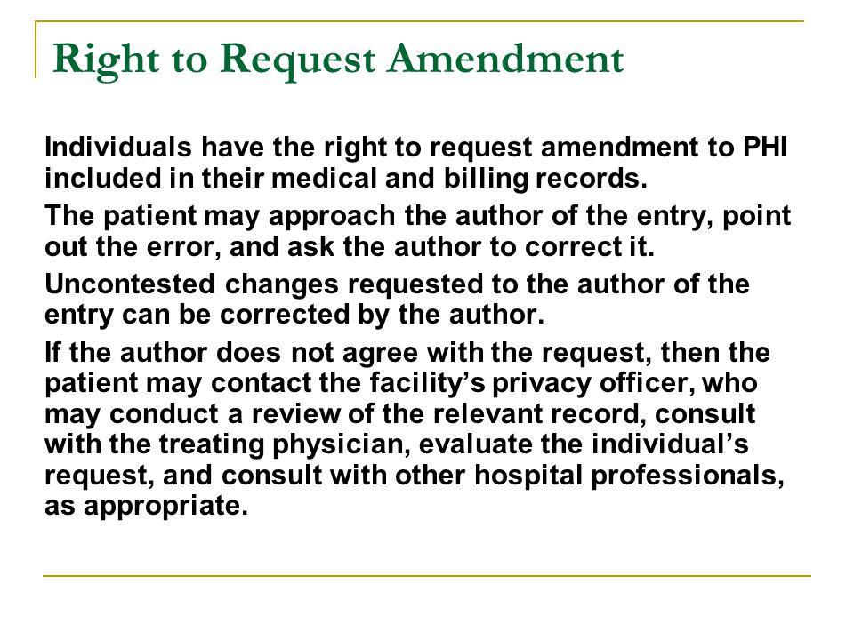 Right to Request Amendment