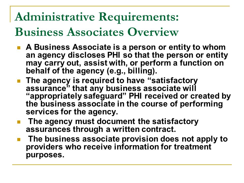 Administrative Requirements: Business Associates Overview