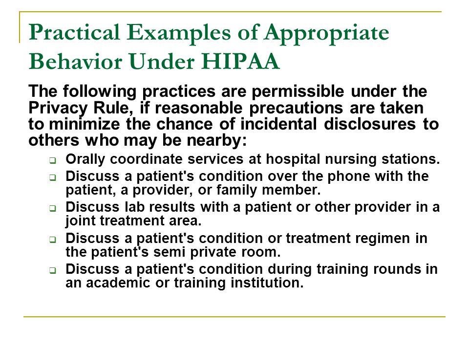 Practical Examples of Appropriate Behavior Under HIPAA