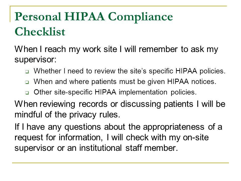 Personal HIPAA Compliance Checklist
