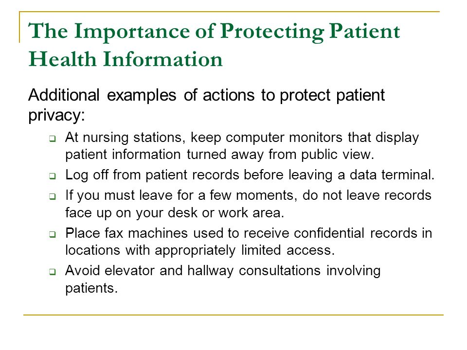 The Importance of Protecting Patient Health Information