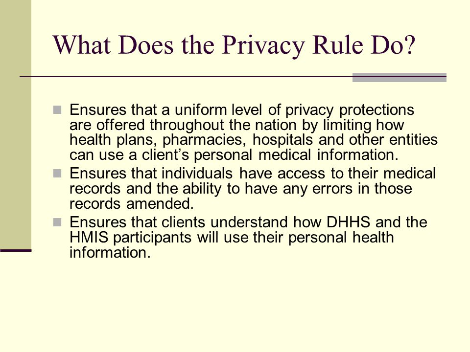 What Does the Privacy Rule Do