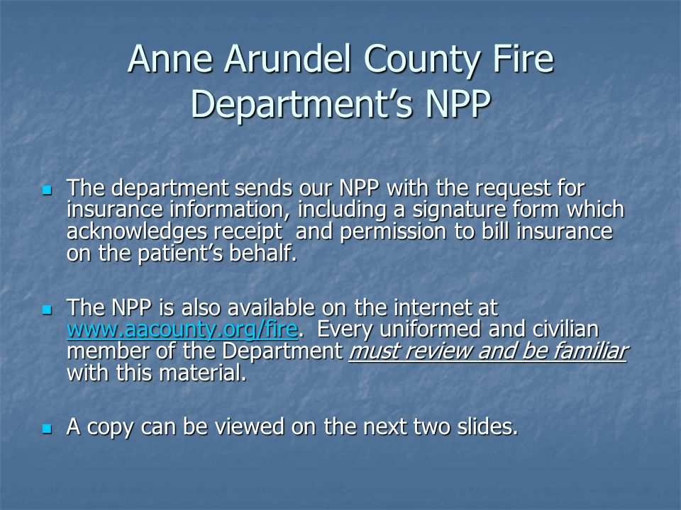 Anne Arundel County Fire Department's NPP