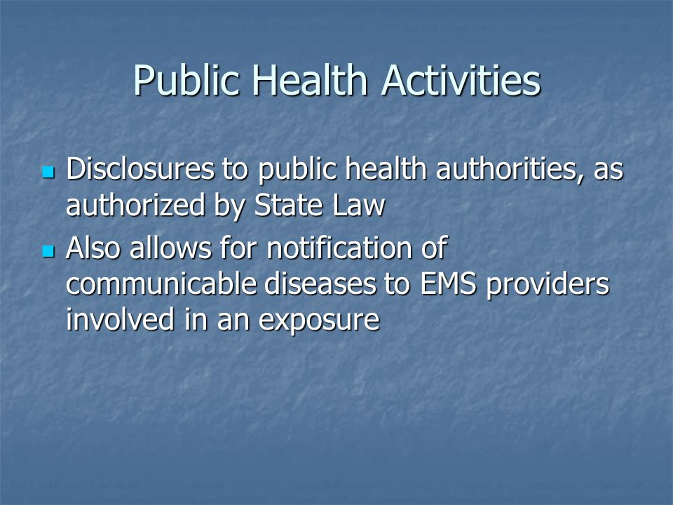 Public Health Activities