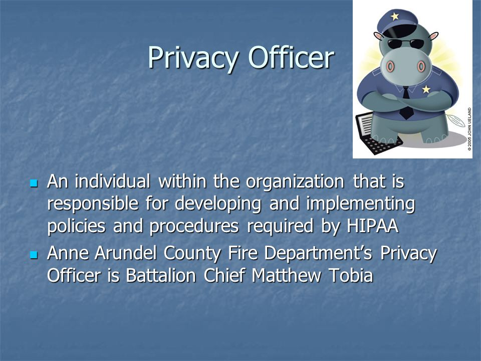 Privacy Officer An individual within the organization that is responsible for developing and implementing policies and procedures required by HIPAA.