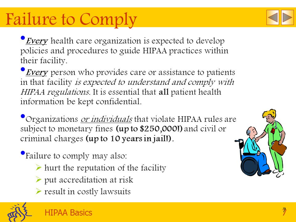 Failure to Comply Every health care organization is expected to develop policies and procedures to guide HIPAA practices within their facility.