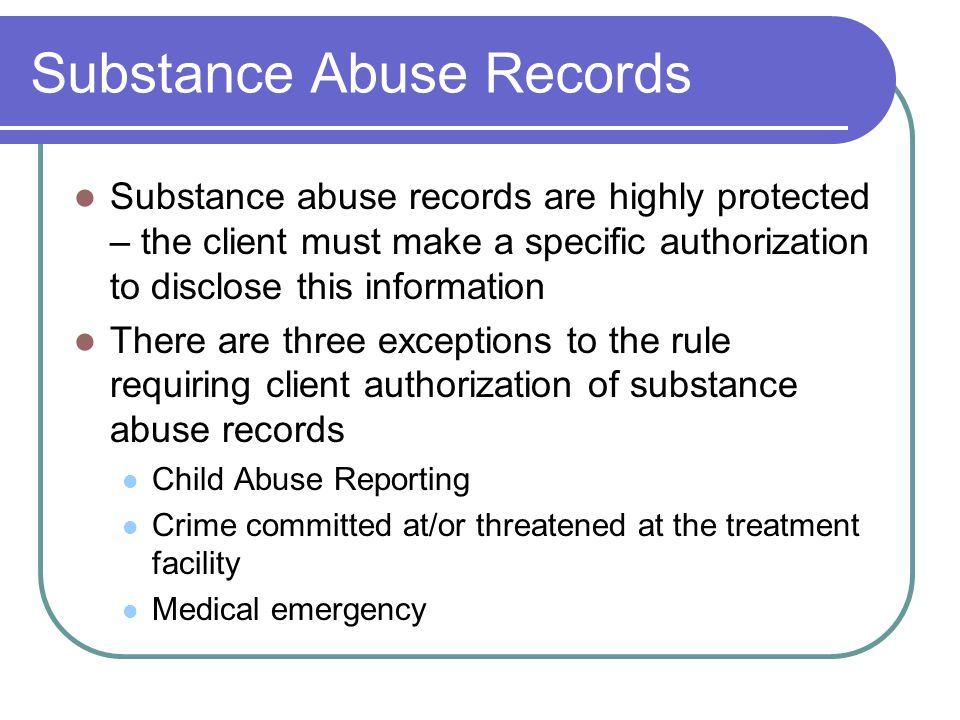 Substance Abuse Records