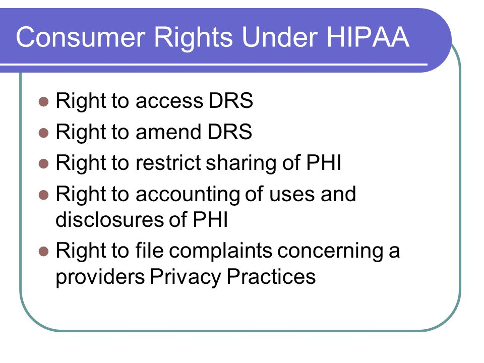 Consumer Rights Under HIPAA