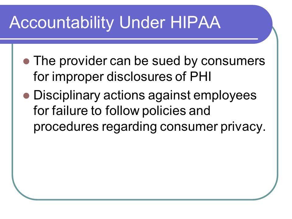 Accountability Under HIPAA