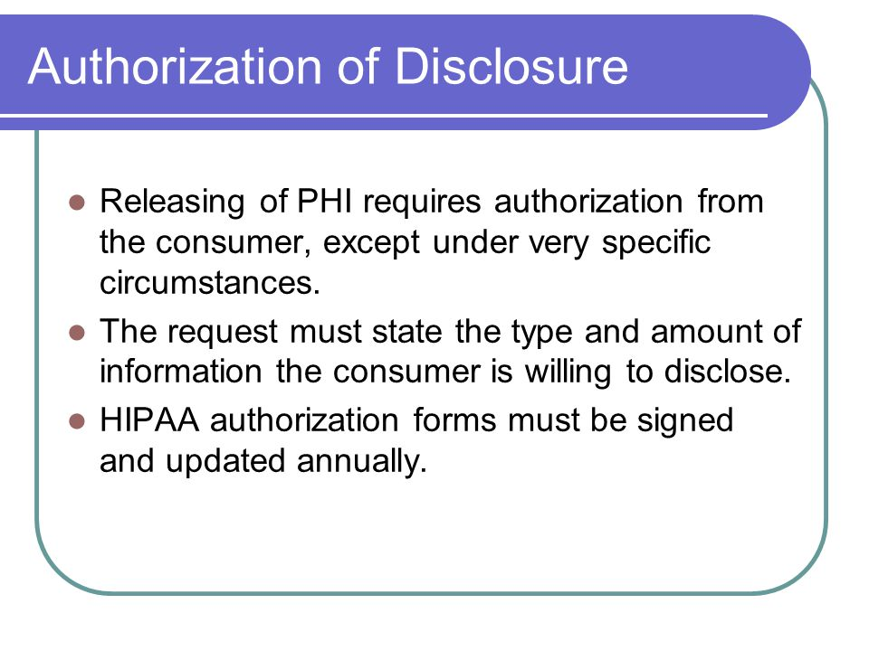 Authorization of Disclosure