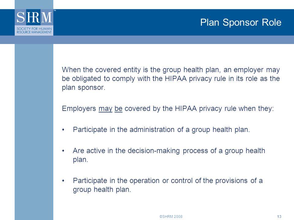 Plan Sponsor Role