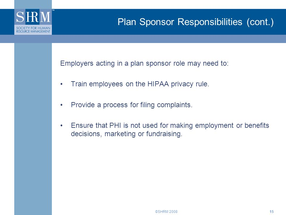 Plan Sponsor Responsibilities (cont.)