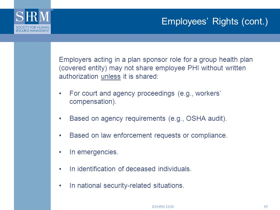 Employees' Rights (cont.)