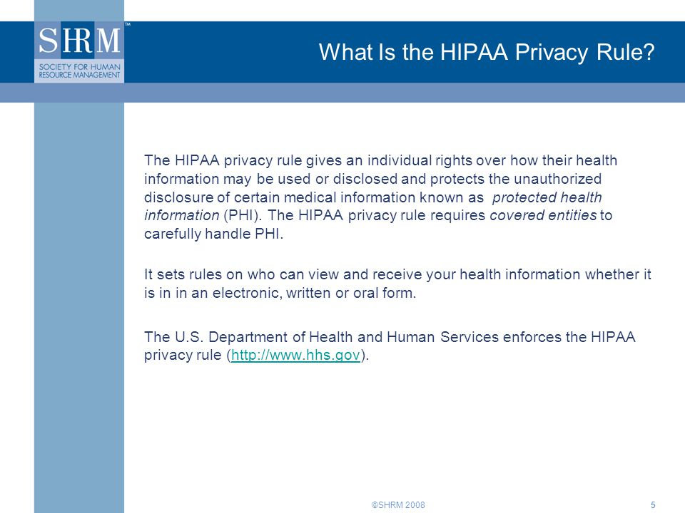 What Is the HIPAA Privacy Rule