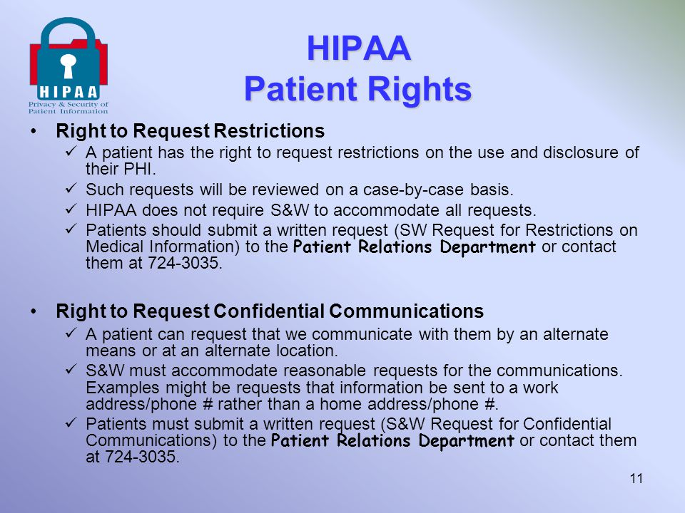 HIPAA Patient Rights Right to Request Restrictions