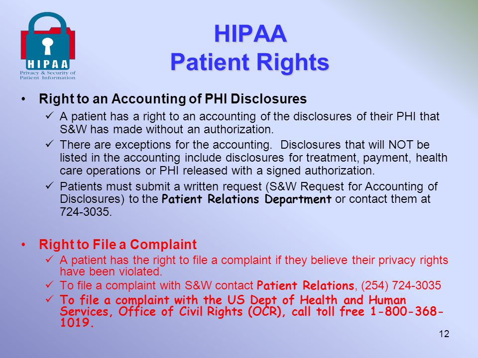 HIPAA Patient Rights Right to an Accounting of PHI Disclosures