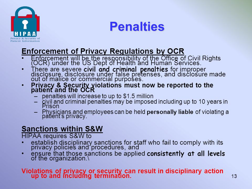Penalties Enforcement of Privacy Regulations by OCR