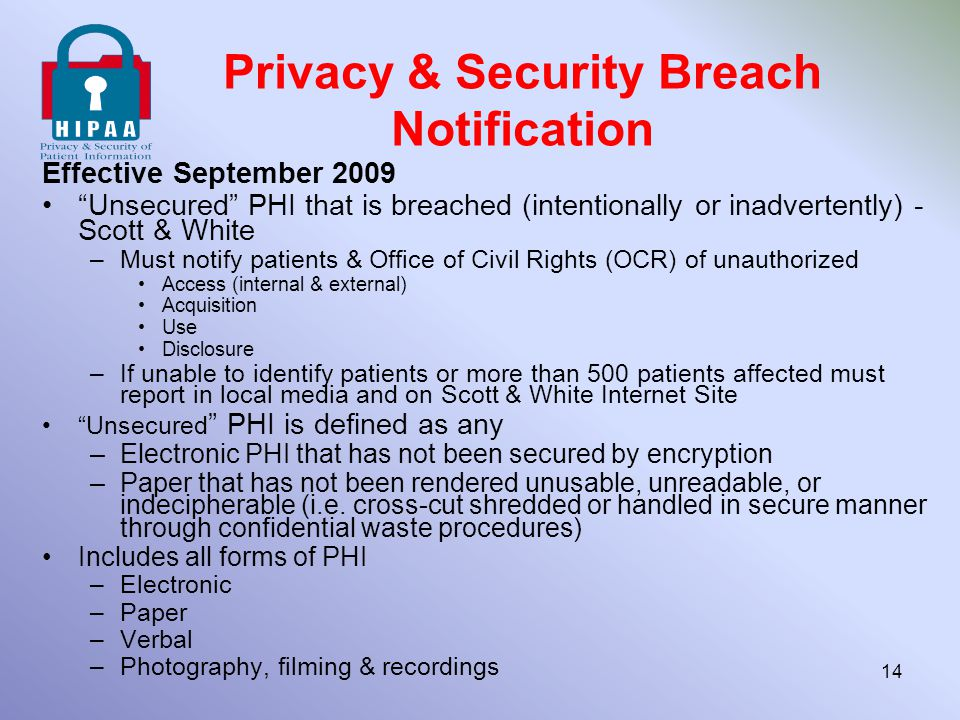 Privacy & Security Breach Notification