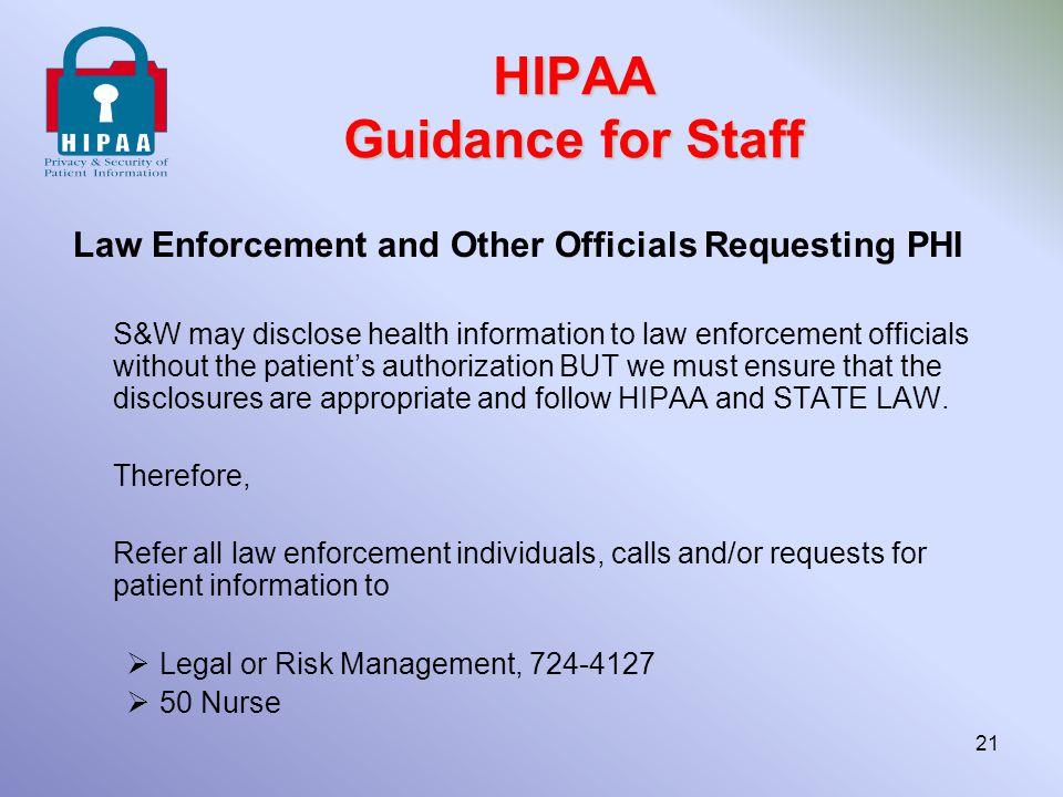 HIPAA Guidance for Staff