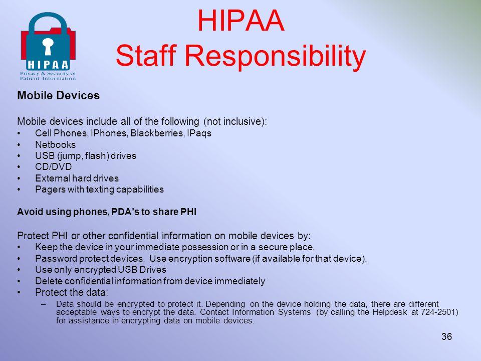 HIPAA Staff Responsibility