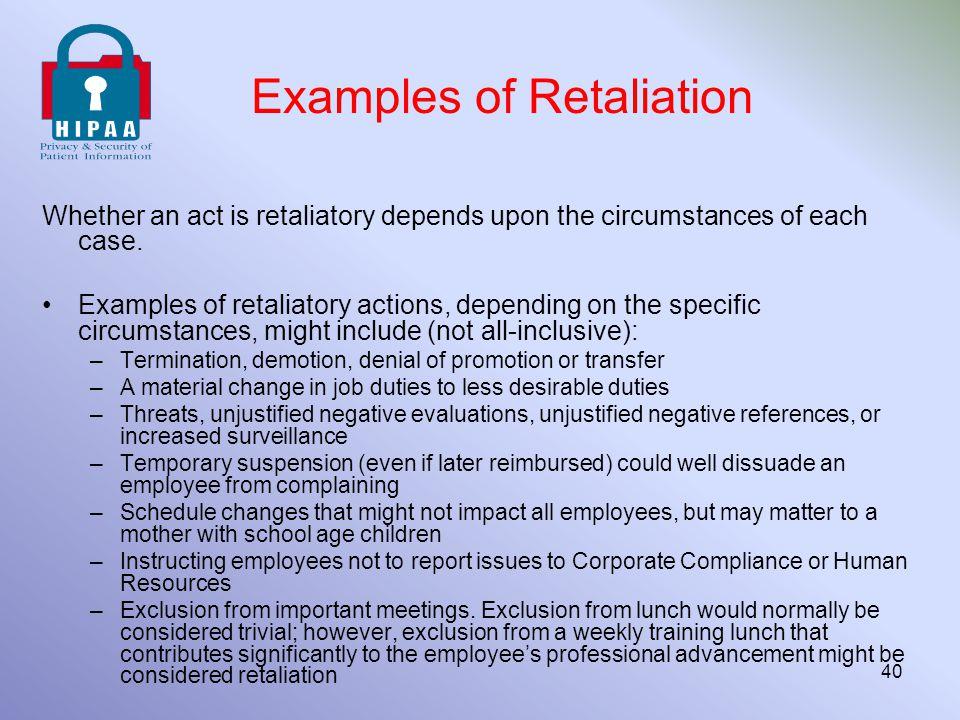 Examples of Retaliation