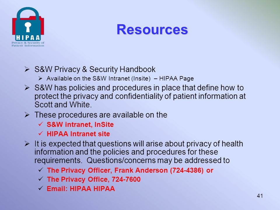 Resources S&W Privacy & Security Handbook