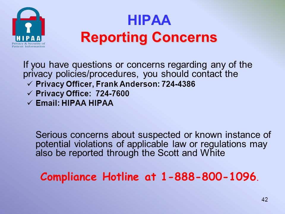HIPAA Reporting Concerns