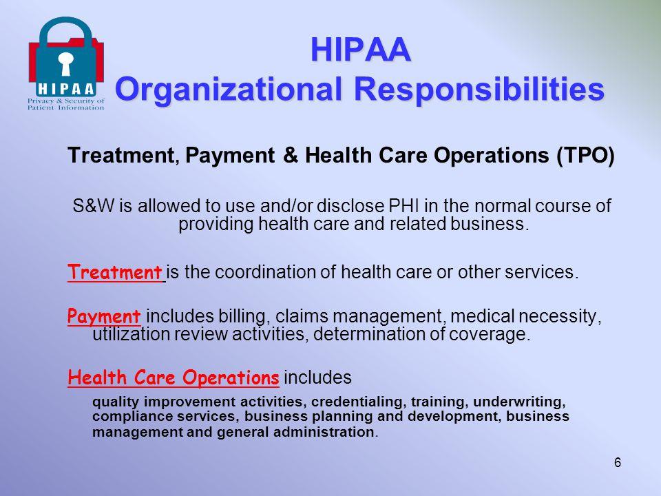 HIPAA Organizational Responsibilities
