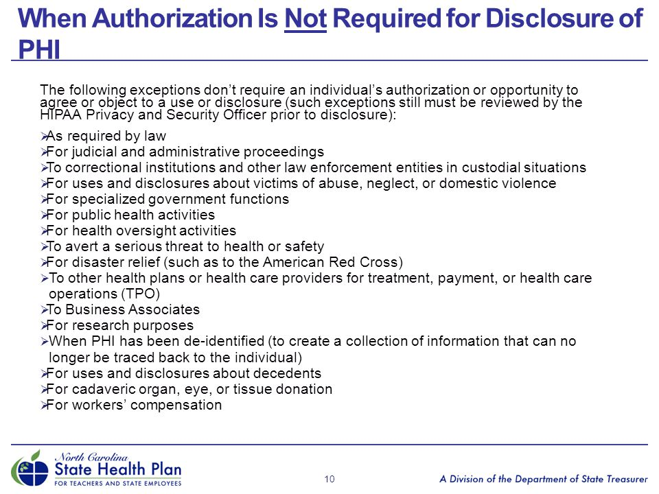 When Authorization Is Not Required for Disclosure of PHI