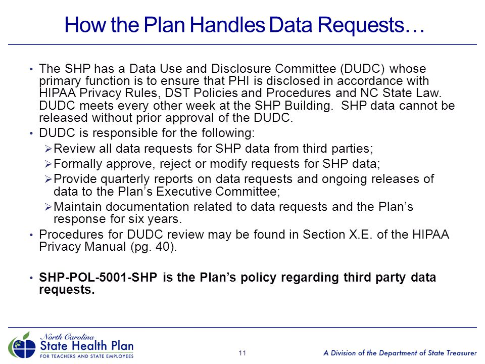 How the Plan Handles Data Requests…